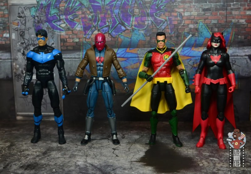 dc multiverse red hood figure review - scale with nightwing, red hood, red robin and batwoman