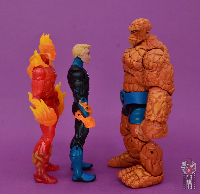 marvel legends human torch figure review - facing human torch and the thing