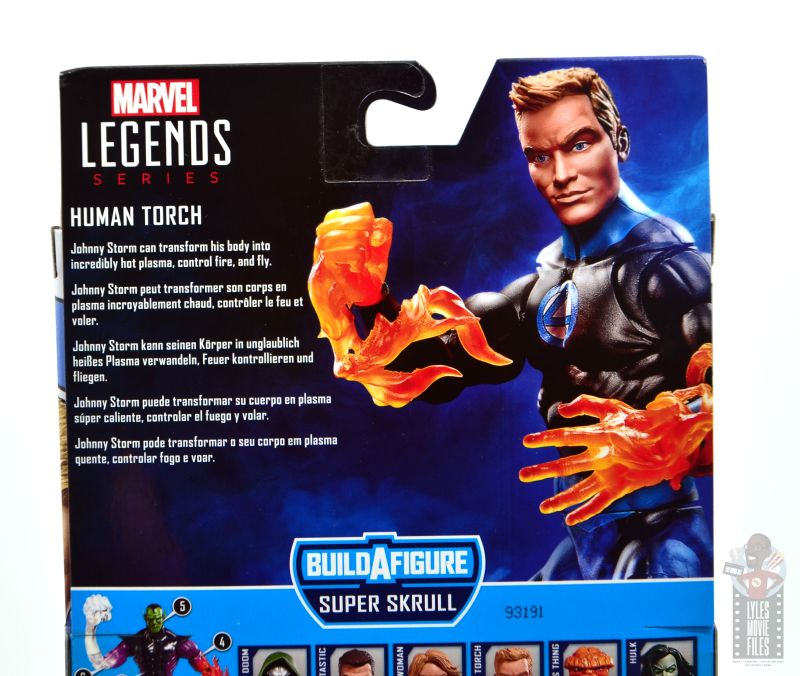 marvel legends human torch figure review - package bio