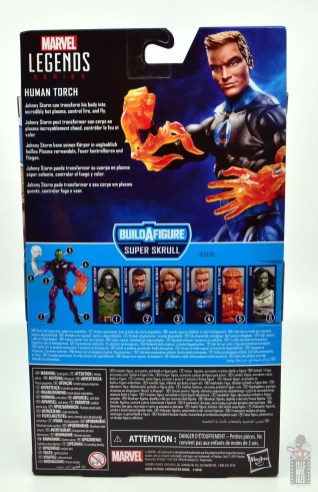 marvel legends human torch figure review - package rear
