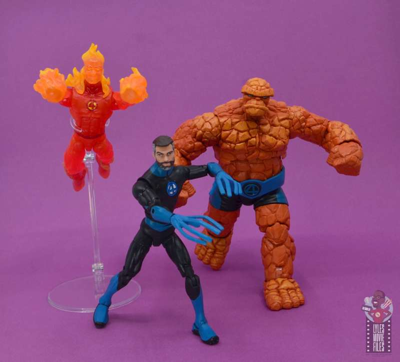 marvel legends mister fantastic figure review - charging into battle with human torch and thing