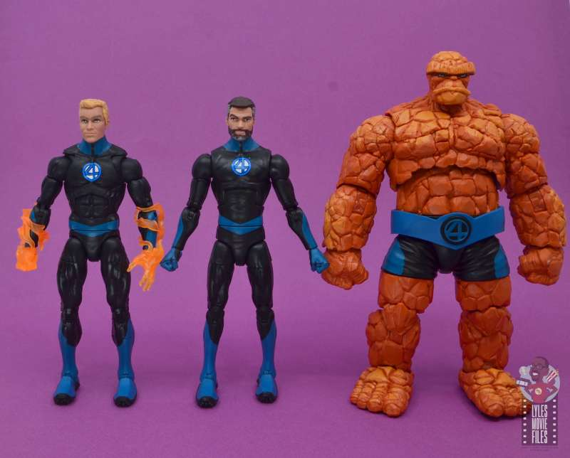 marvel legends mister fantastic figure review - scale with human torch and the thing