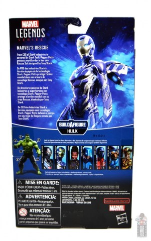 marvel legends rescue figure review - package rear