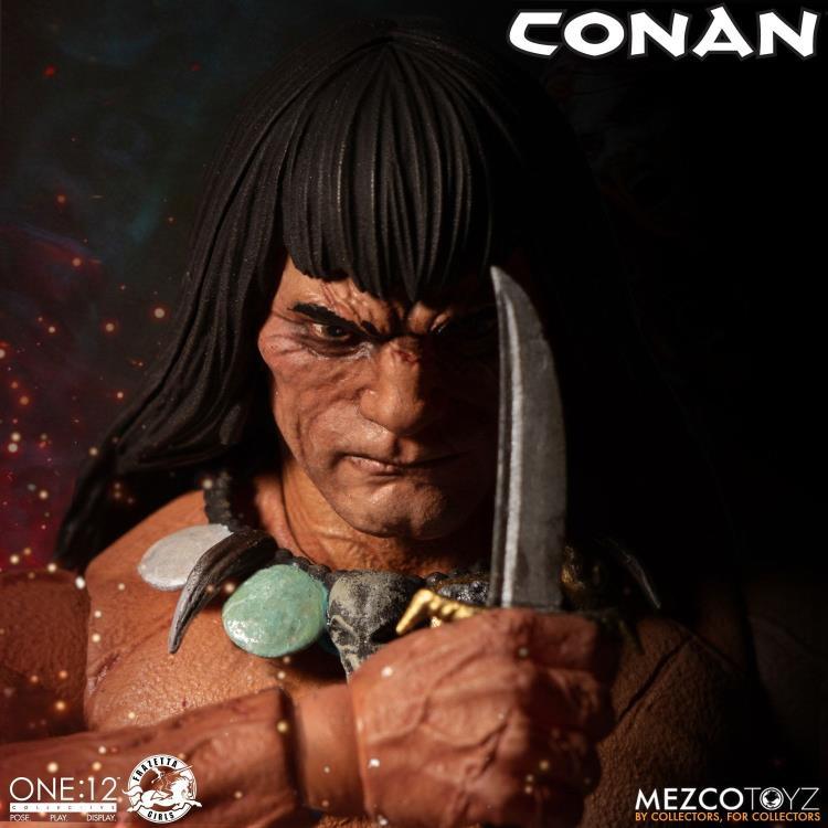 mezco toyz one 12 conan figure -face close up