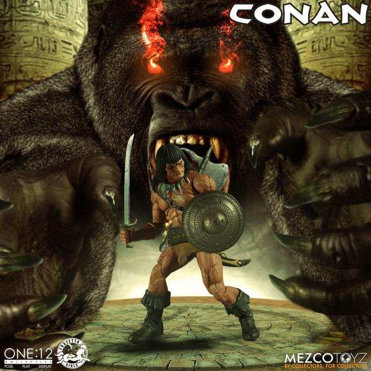mezco toyz one 12 conan figure -in cavern base