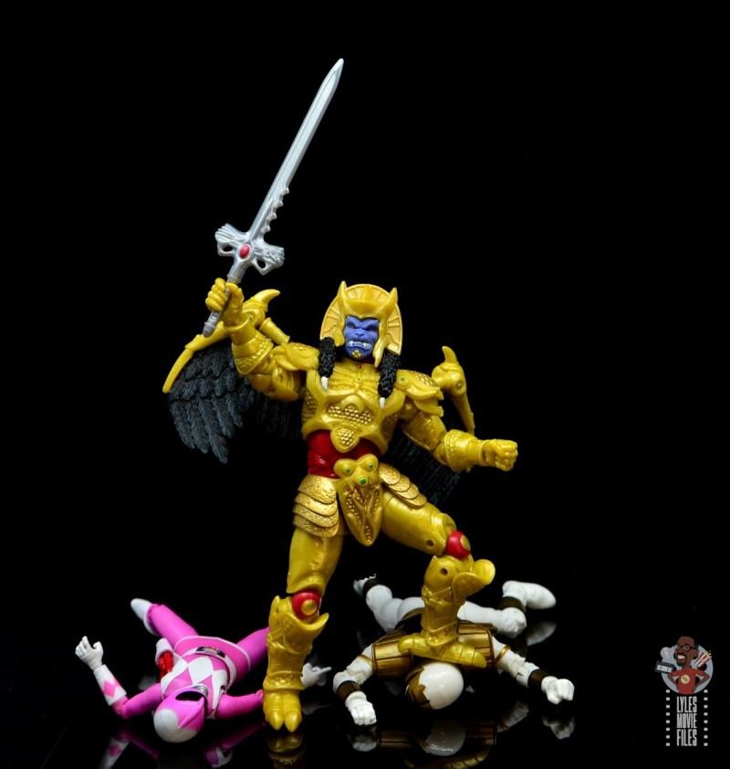 power rangers lightning collection goldar figure review - standing over pink ranger and white ranger