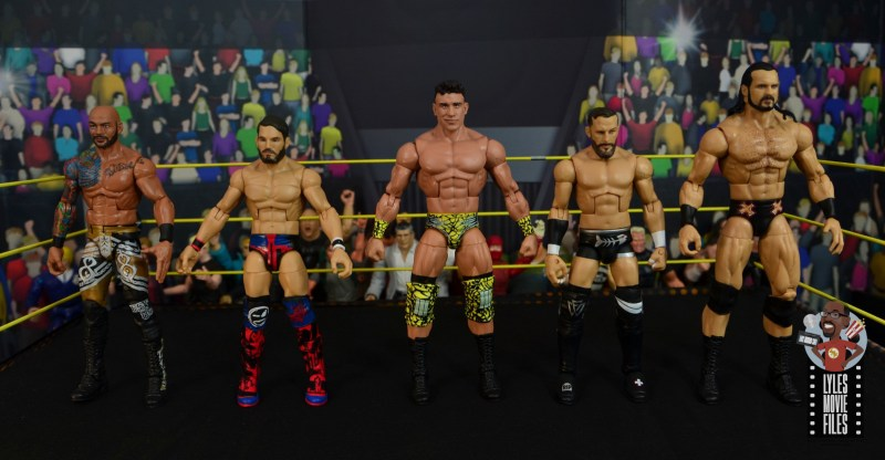 wwe elite 70 ec3 figure review - scale with ricochet, johnny gargano, bobby fish and drew mcintyre