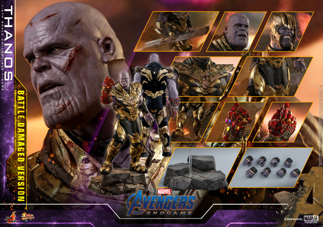 hot toys avengers endgame thanos battle damaged figure - collage