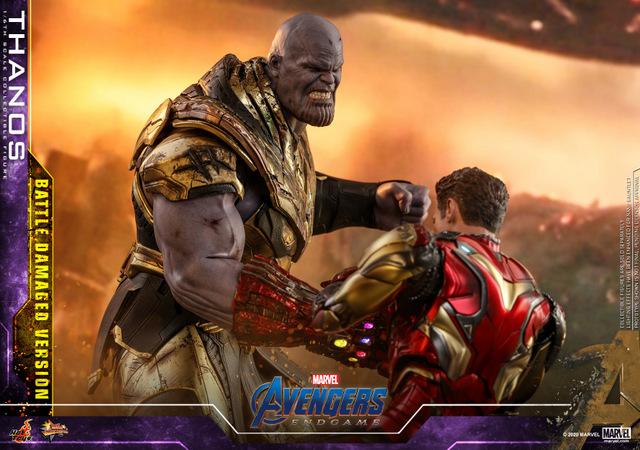 hot toys avengers endgame thanos battle damaged figure - fighting iron man