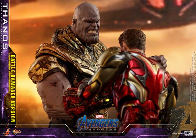 hot toys avengers endgame thanos battle damaged figure - fighting off iron man