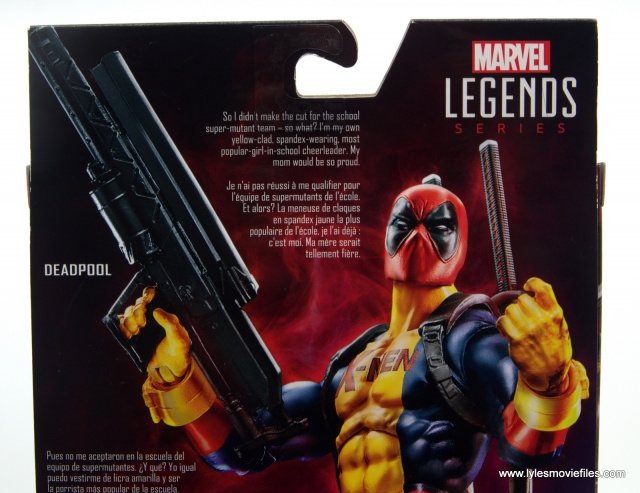 marvel legends deadpool figure review - package bio