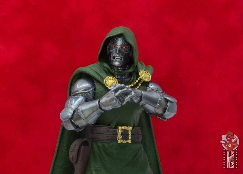 marvel legends doctor doom figure review - against red backdrop
