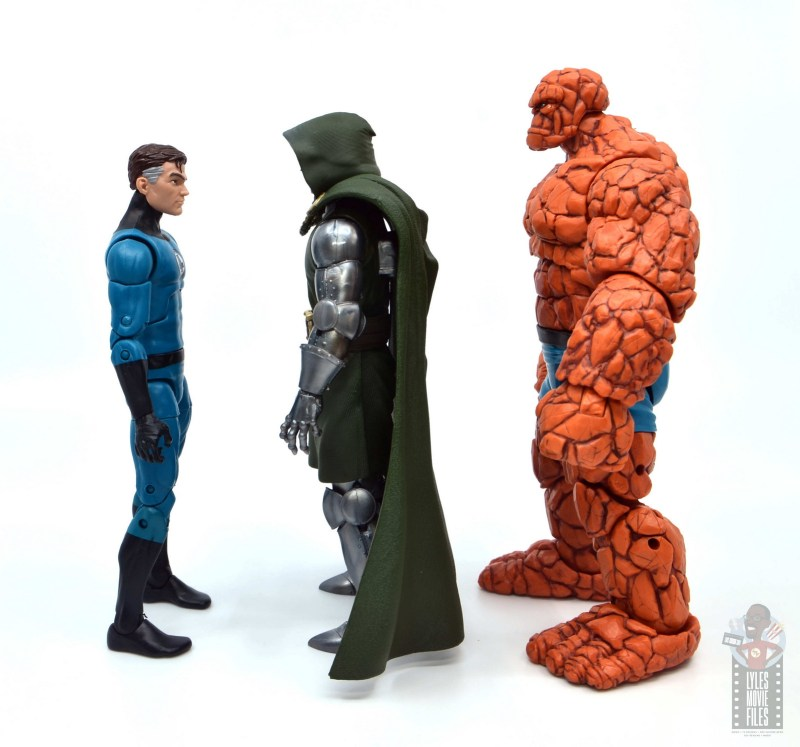 marvel legends doctor doom figure review -facing mister fantastic and the thing