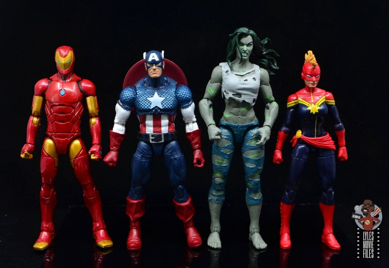 marvel legends she-hulk figure review - scale with iron man, captain america and captain marvel