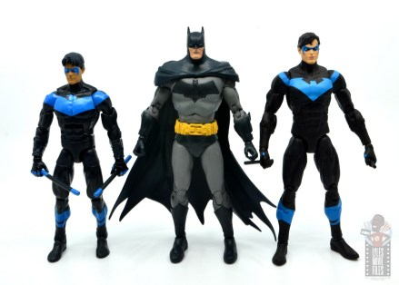 mcfarlane dc multiverse baman figure review - scale with mattel nightwing and dc essentials nightwing