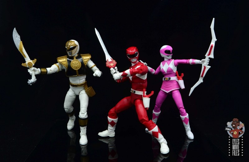 power rangers lightning collection red ranger figure review -weapons out with white and pink ranger