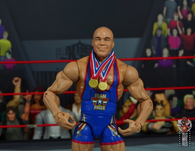 wwe elite 59 kurt angle figure review -wide shot with medals