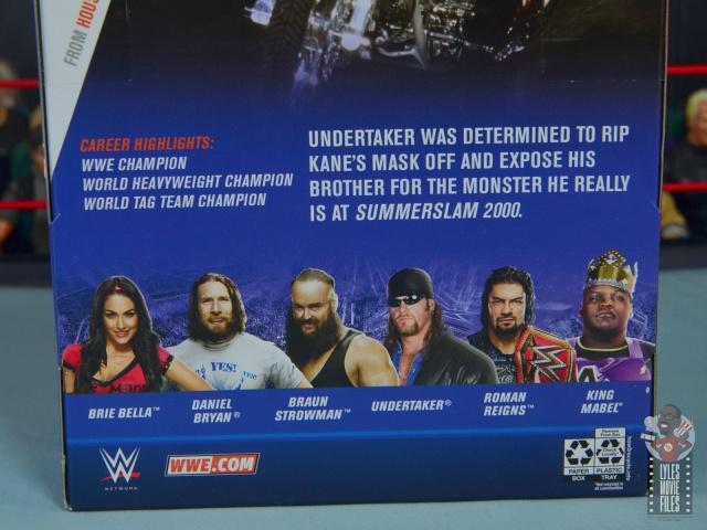 wwe elite 68 american badass undertaker figure review - package bio