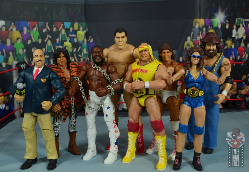 wwe network spotlight wendi richter figure review -with mean gene, superfly snuka, jyd, andre the giant, hulk hogan, tito santana and hillbilly jim