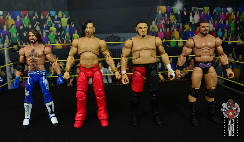 wwe ultimate edition shinsuke nakamura figure review - scale with aj styles, samoa joe and bobby roode