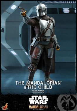 hot toys the mandalorian and the child deluxe figure set - aiming in the prison