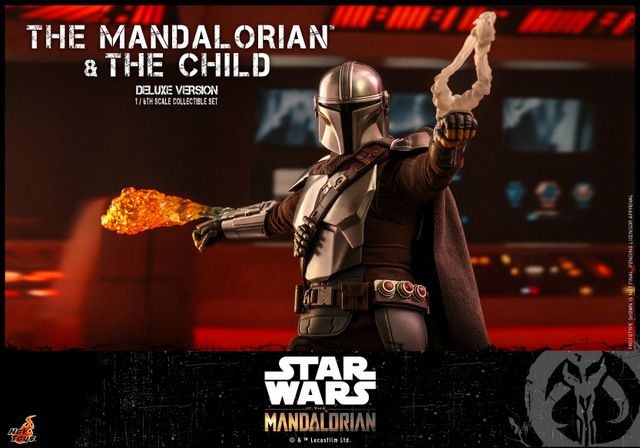 hot toys the mandalorian and the child deluxe figure set - using flamethrower and rockets