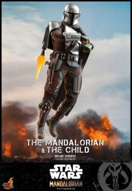 hot toys the mandalorian and the child deluxe figure set - using jetpack
