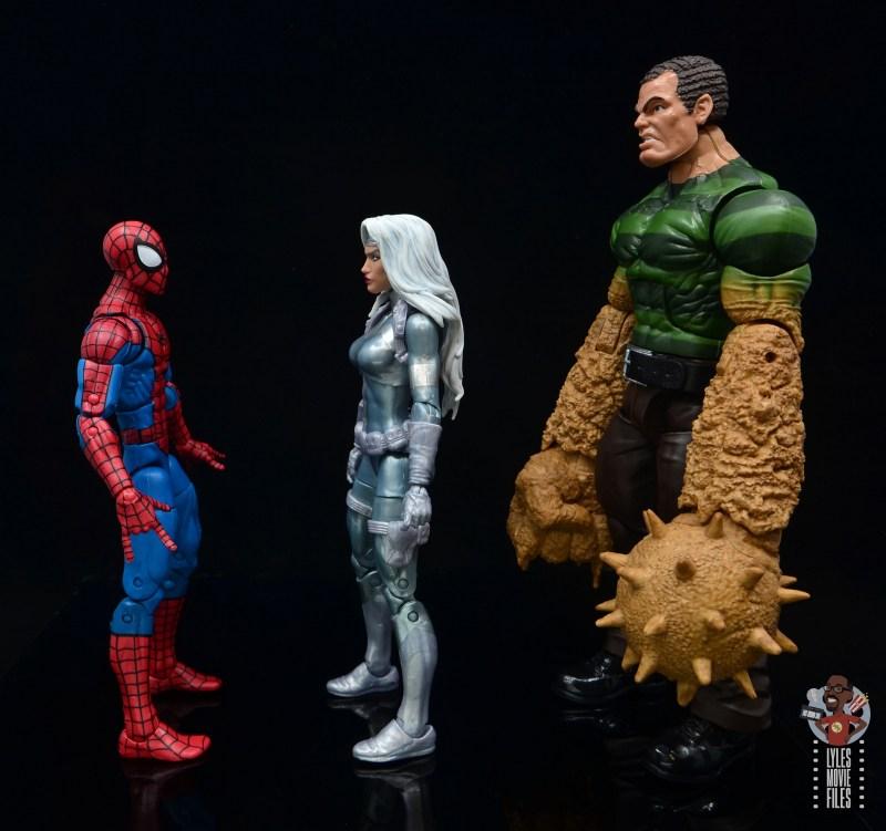 marvel legends silver sable figure review - facing spider-man and sandman.JPG