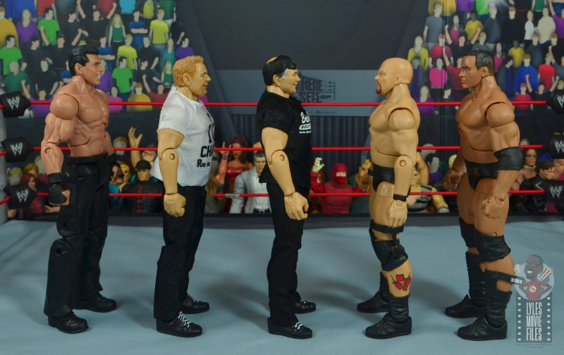 wwe elite gerald brisco figure review -facing vince mcmahon, pat patterson, stone cold and the rock