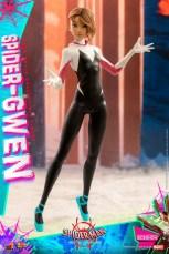hot toys spider-man into the spider-verse spider-gwen figure - unmasked standing