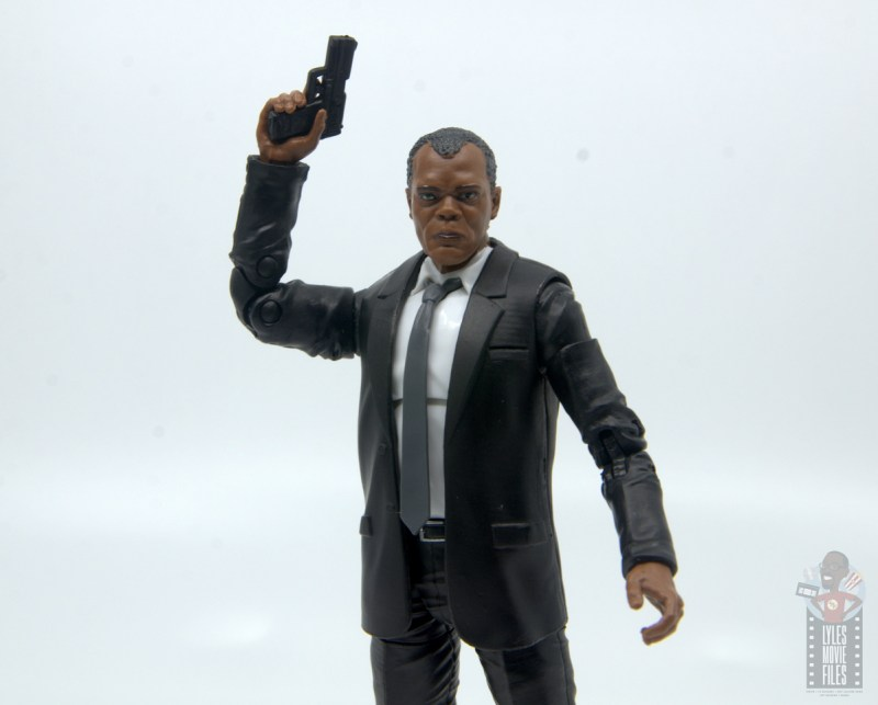 marvel legends captain marvel nick fury figure review - raising pistol