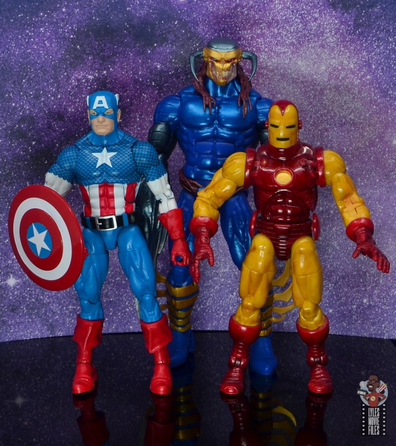 marvel legends death head ii figure review - scale with captain america and iron man