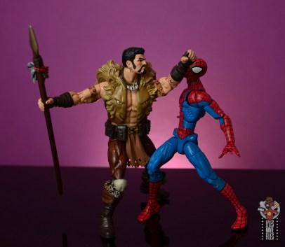 marvel legends kraven figure review - punching spider-man