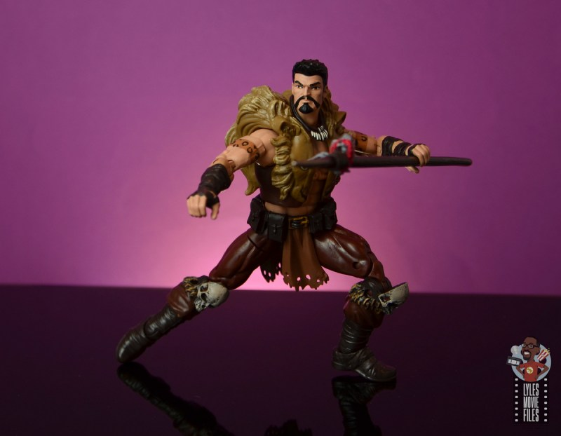 marvel legends kraven figure review - wide stance with spear