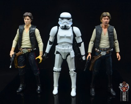star wars the black series stormtrooper figure review - scale with hasbro and sh figuarts han solo