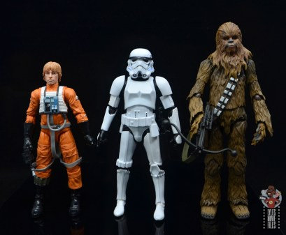 star wars the black series stormtrooper figure review - scale with hasbro luke skywalker and sh figuarts chewbacca