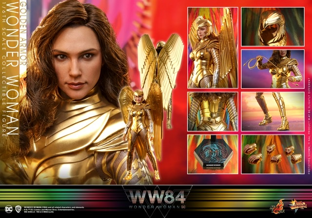 hot Toys Wonder Woman 1984 golden armor figure -collage
