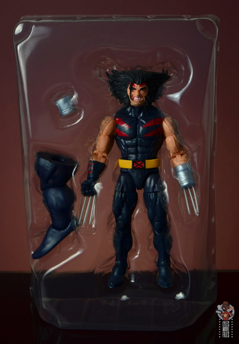 marvel legends age of apocalypse weapon x figure review - figure in tray