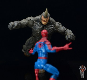 marvel legends build-a-figure rhino figure review - charging at spider-man
