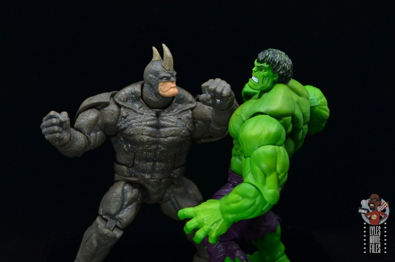 marvel legends build-a-figure rhino figure review -punching the hulk