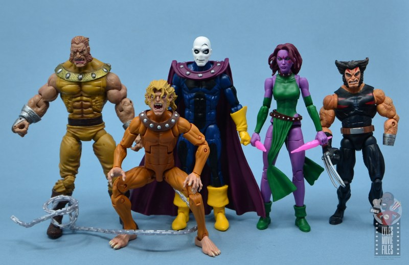 marvel legends morph figure review -scale with sabretooth, wild child, blink and weapon x