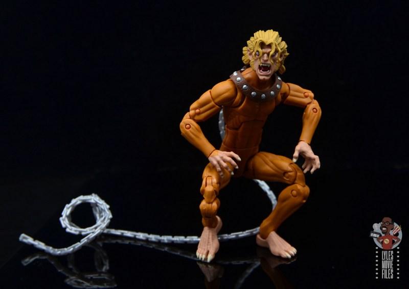marvel legends wild child figure review - hands on knees