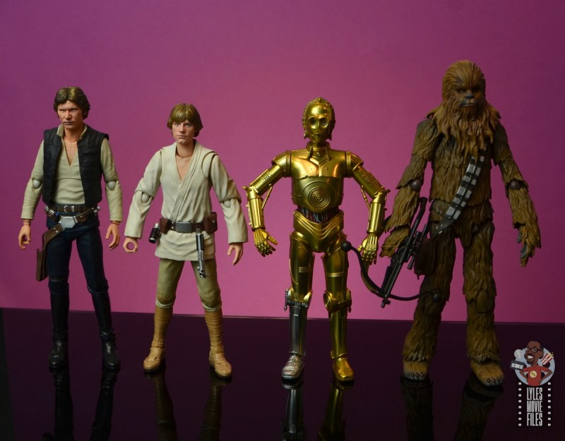 sh figuarts star wars c-3p0 figure review - scale with han solo, luke skywalker and chewbacca
