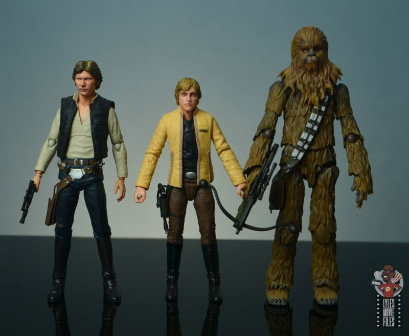 star wars the black series yavin celebration luke skywalker figure review - scale with sh figuarts han solo and chewbacca