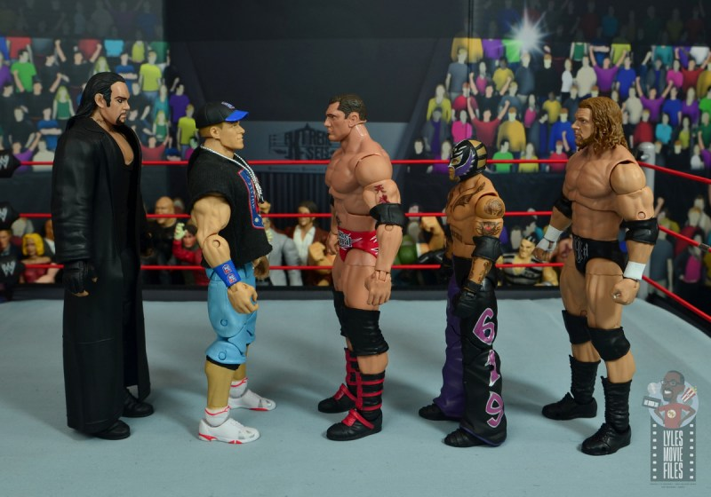 wwe elite hall of champions batista figure review - facing the undertaker, john cena, rey mysterio and triple h