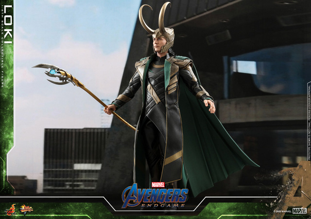 hot toys avengers endgame loki figure - wide shot awaiting iron man