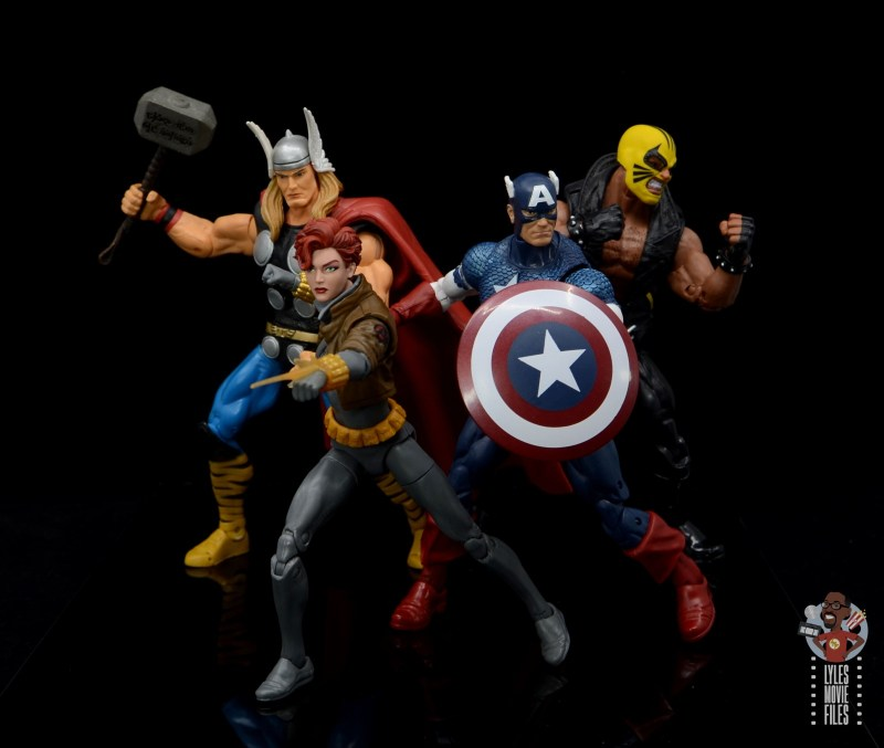 marvel legends black widow wal-mart exclusive figure review - avengers assemble with thor, captain america and rage