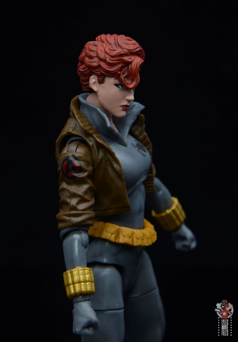 marvel legends black widow wal-mart exclusive figure review - close up right side