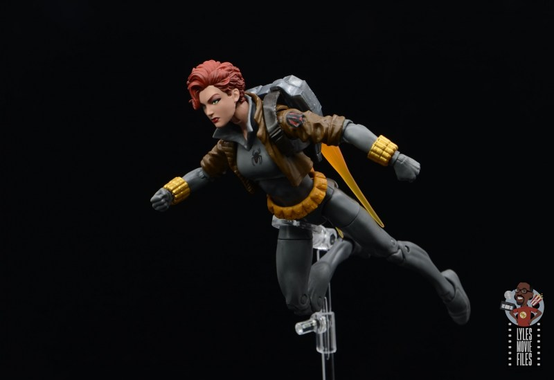 marvel legends black widow wal-mart exclusive figure review - flying on jetpack