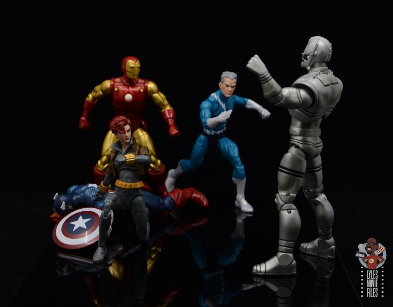 marvel legends black widow wal-mart exclusive figure review - in battle with iron man and quicksilver vs ultron